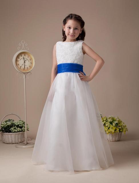 a73019e3cc Długi Pierwsza Komunia Sukienki Dla Dziewczynek Kwiat Sukienka Z Niebieskim  Sash Sukienki Komunijne Dzieci Suknia Vestidos