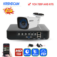 KRSHDCAM 4CH AHD DVR Security CCTV System 30M IR 1PCS 720P CCTV Camera System Outdoor Waterproof