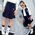 Детская Одежда Весной Новые Модели Девушка Обжима Короткая Юбка Школа Ветер Половина тела Сплошной Цвет