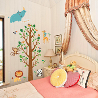 1 Set Large Wall Sticker Kid Height Measurement Tree Cartoon Animal Lion Panda For Baby Girl