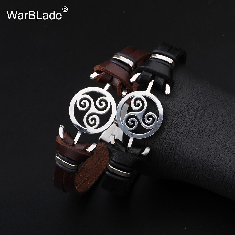 WarBLade 2018 New Fashion Stainless steel Black Bracelet Bangles Genuine Leather Bracelet For Women Men Wristband Charm Jewelry