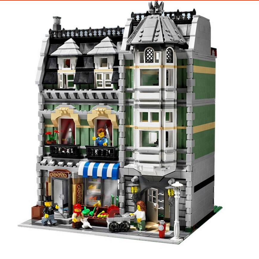 Lepin 15008 2462Pcs City Street Green Grocer Model Building Kits Blocks Bricks Educational toys Compatible10185 2018 new lepin 15008 2462pcs city creator green grocer model building kit blocks bricks educational kids compatible toys 10185