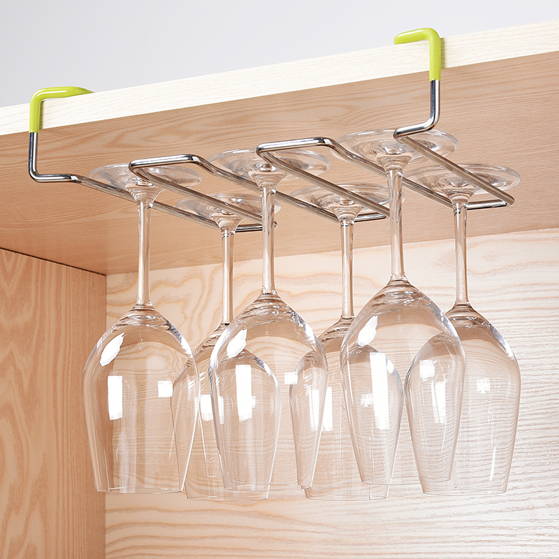 Household Stainless Steel Wine Cup Rack Nail Free Goblet Suspension Frame Bar Counter Decorate Upside Down Cup Holder