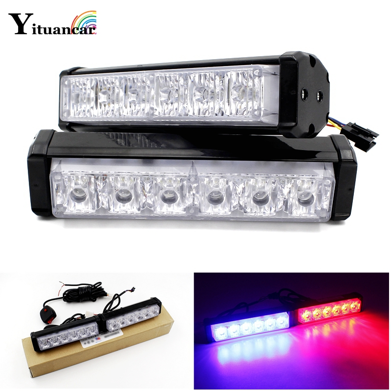 Yituancar 2X 12 LED Strobe Flash Warning Light Car Styling White Red Blue Fireman Police Emergency Front Grille Deck Fog Lamps 6000lumens bike bicycle light cree xml t6 led flashlight torch mount holder warning rear flash light