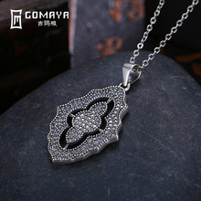 цена GOMAYA Authentic 925 Sterling Silver Sparkling Lace Pendant Necklace Clear CZ Vintage   for Women Fine Jewelry онлайн в 2017 году