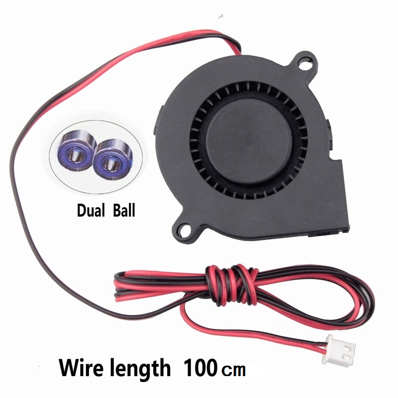 Gdstime 2 PCS 24V Dual Ball Bearing 3D Printer 50x50x15mm DC Cooling Fan 50mm x 15mm Long Cable Blower Cooler Radiator 5015 2 pcs gdstime tow ball bearing 48v 170mm x 50mm circle cooler metal case industrial dc cooling fan 172mm x 51mm 2pin 17cm 17251