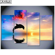 1 set of 4pcs diamond painting dolphins sunset scenery full square embroidery 3d round drill wall sticker