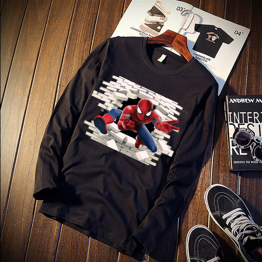 2018 Pure Cotton T-Shirt Avengers Superheroes 3D Breaking  Printed Long Sleeve Fashion Casual Tops & Tees Brand Unisex Clothing