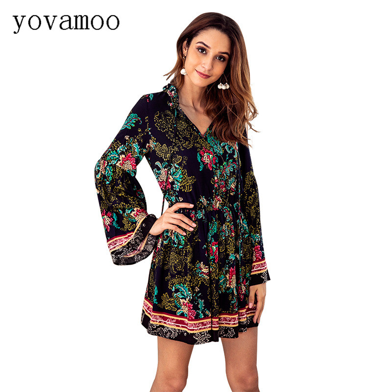 Yovamoo Floral Print Dress Autumn Long Sleeve V-neck Vintage Elastic Waist Boho Holiday Bohemian Dresses Vetement Femme 2018