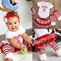 3 pcs Nova Natal Do Bebê Menina Conjuntos de Roupas Casuais de Cana Romper bordado E Plissado Tutu Saias Polainas Outfits Set