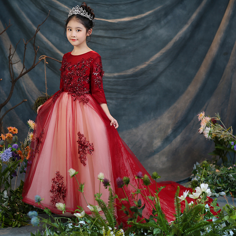 2018 New Children Girls Fashion Wine-red Princess Birthday Wedding Model Show Long Tail Dress Teens Kids Host Pageant Lace Dress