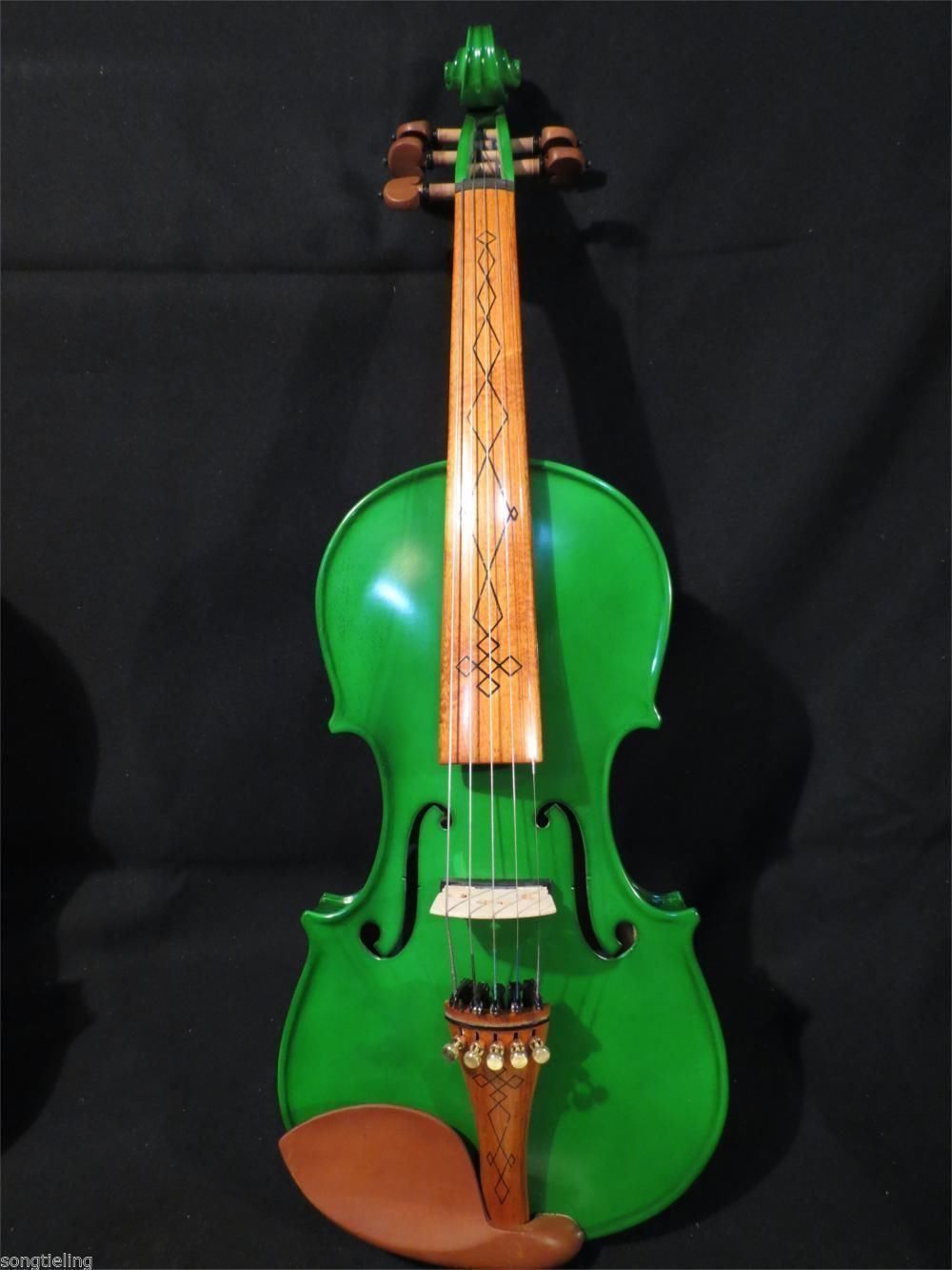 Handmade Top New Green Color Electric Violin 5 Strings 4/4 Electric Violin Acoustic Violino Great Sound new 4 string 4 4 electric acoustic violin patent silent fine sound 1