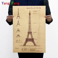 2017 nueva oferta De calcomanías De pared Adhesivo De pared Fance 1989 Torre Eiffel vintage póster De papel Decoración De casa
