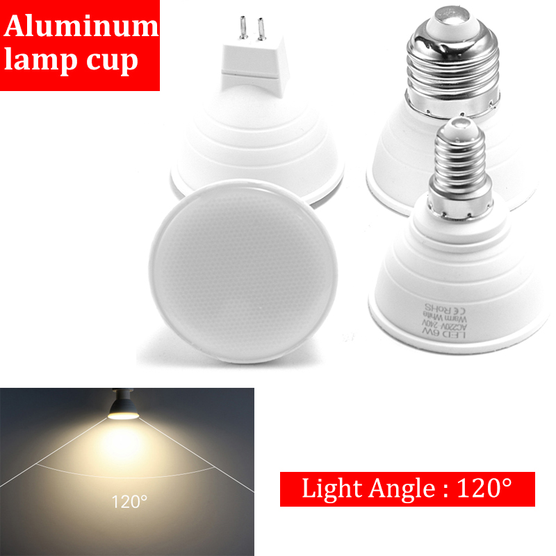 120 Degree E14 E27 MR16 GU10 Lampada AC220-240V 6W LED Bulb Warm Light And White Light Spotlight LED Lamp Lampadas Light Bulb