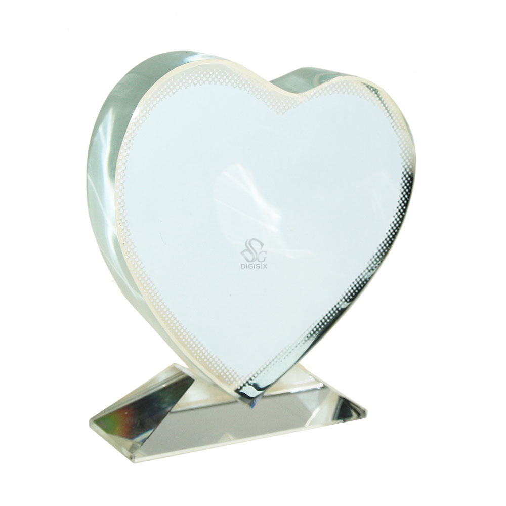 JB-13 Heart-Shaped Blank Crystal Photo Frame For Sublimation Customized Picture