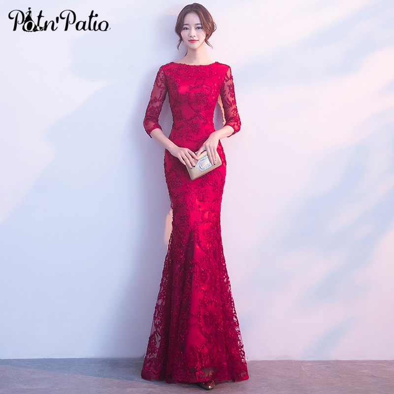 Wine Red Mermaid   Prom     Dresses   2019 Elegant Lace   Prom     Dresses   Long With Sleeves Plus Size Gala   dresses