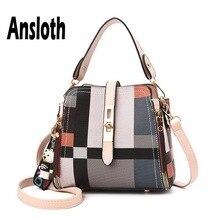 Ansloth Plaid Handbag For Women Casual Shoulder Bag Lady PU Leather Handle Large Quality Bucket Female Tote HPS587