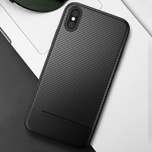 Case For iPhone X 7 8 6 6s Plus TPU Carbon Fiber Texture Bumper Airbag Shockproof Fitted Cover Soft Protective Phone Bag