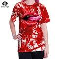 Jiayiqi Causal T-shirt Lábios Vermelhos Das Mulheres De Impressão 3D Engraçado T Feminino Casual Manga Curta O Pescoço Topos Do Punk