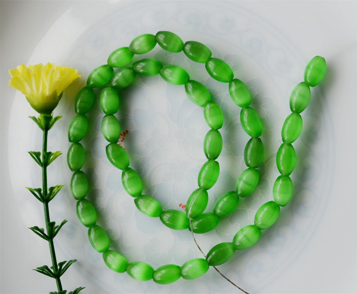 fa7b64b734e4 Encantador 8x12mm Verde mexicano peridoto piedra arroz perlas accesorios  para joyería de moda collar pulsera ED162