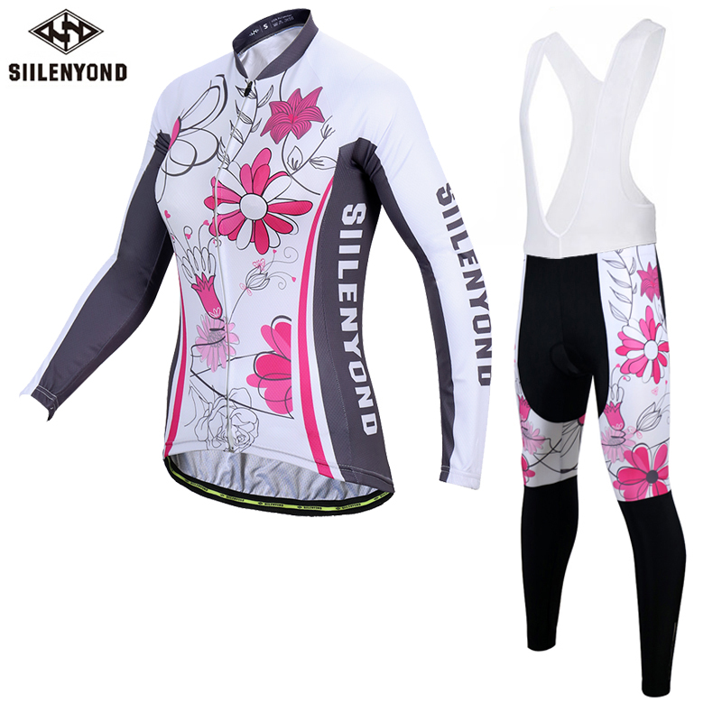 Siilenyond 2019 Women Bib Cycling Jersey Set Cycling Uniform MTB Bike Cycling Clothing Quick Dry Mountain