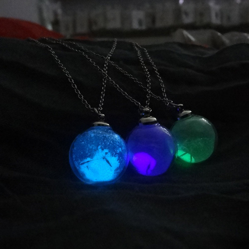 2017 Wish Glass Bottle Glow In The Dark Necklaces Luminous Statement Necklaces Dandelion Seed Glowing Jewelry
