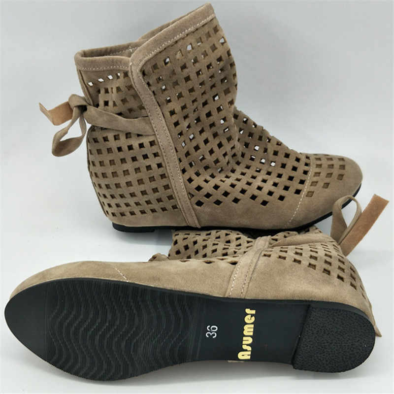 ASUMER yaz çizmeler kadınlar için düz topuk bahar yarım çizmeler yuvarlak ayak cut çıkışları rahat kadın ayakkabı damla nakliye
