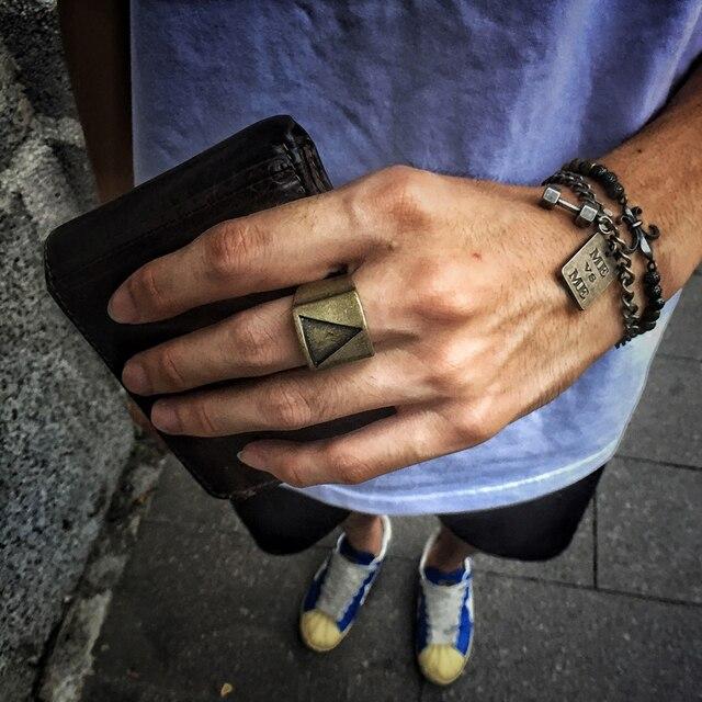 Geometrica del Triangolo In Acciaio Inox Punk Rock Degli Uomini Anello Dell'annata Argento Bronzo Freddo Del Partito Anelli di Barretta Dei Monili di Sesso Maschile di Spessore bijoux