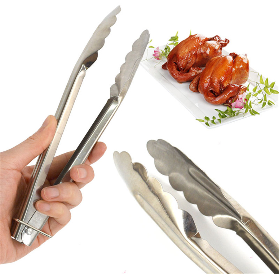 1 Pcs BBQ Tongs w/ Silicone Cover Handle Kitchen Tongs Lock Design Barbecue Clip Clamp Stainless steel Food Tongs