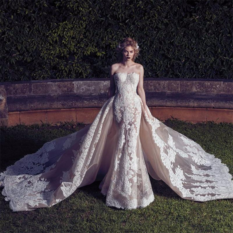 Robe De Mariage 2017 Champagne Strapless Wedding Dress
