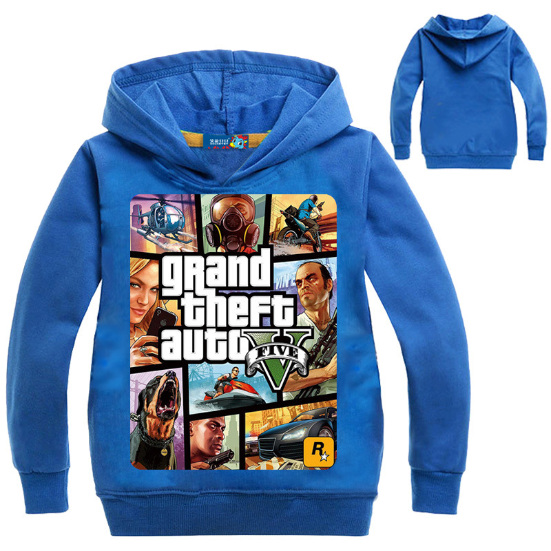 все цены на Boys Tops Clothing GTA 5 Hoodies Gta Street Outwear Costumes Kids Clothes Girls T Shirts Children's Sweatshirts for Boys Hooded онлайн