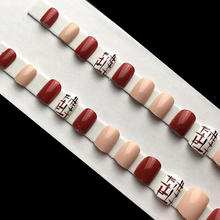 24pcs Squoval Red Fake Nails Short Cossing Pink False With Designs Round Acrylic Tips Nail Artificial Nageltips