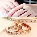 Delicate Oco out Algarismos Romanos Anéis para As Mulheres de Aço Inoxidável 316L Rosa Banhado A Ouro Anéis para Os Amantes