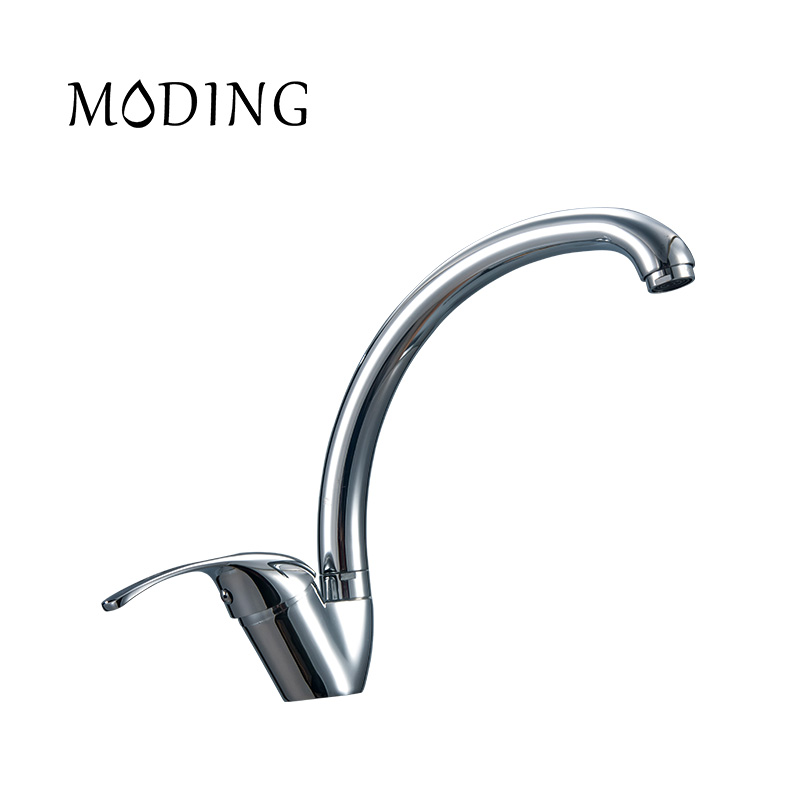 MODING Kitchen Mixer Kitchen Faucet Copper Solid Thick Handle Bottom Horizontal Curved Stainless Steel Water Tap