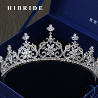 HIBRIDE High Quality Copper Headband Hair Accessories Women Wedding Crown Tiaras For Bride Gifts C 22
