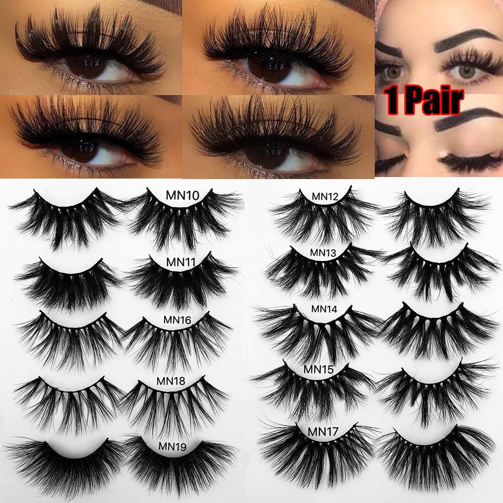 1Pair 25 Thick Makeup Lashes 3D Mink Hair False Eyelashes Long Wispies Fluffy Multilayers Eyelashes Cruelty-free Extension