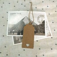 DIY Brown Rectangle Heart Label Luggage Kraft Paper Tags Brown Wedding Note Blank Price Hang Tag
