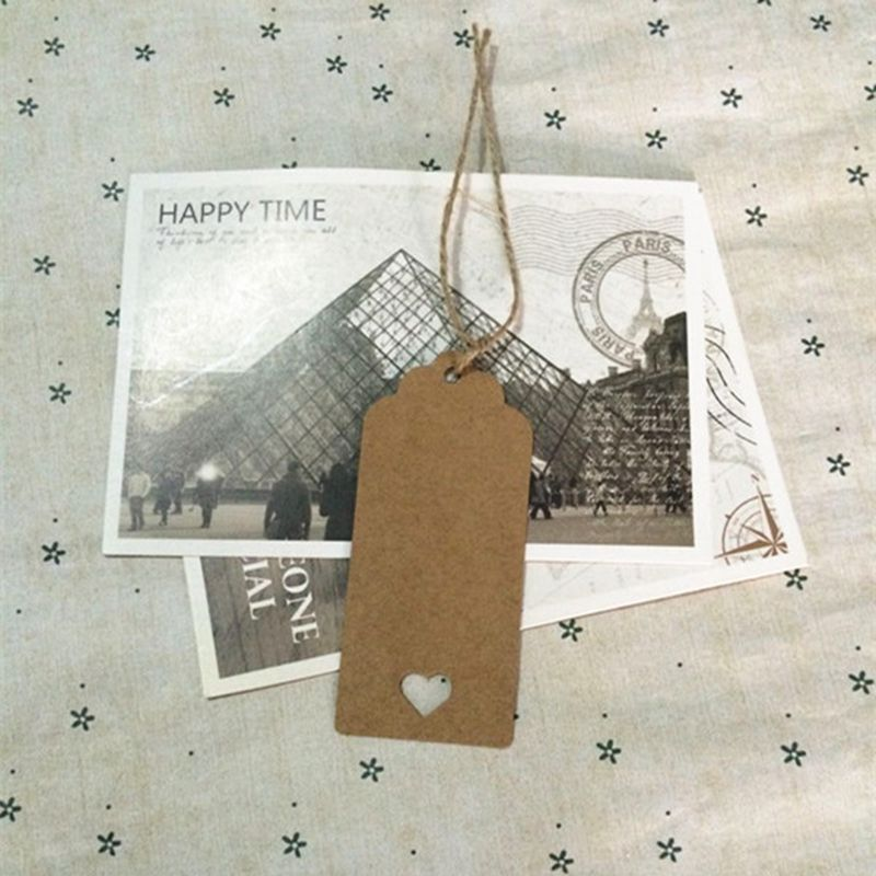 DIY Brown Rectangle Heart Label Luggage Kraft Paper Tags Brown Wedding Note Blank price Hang tag Kraft Gift 9*4cm 100Pcs 25 33 8cm kraft paper gift bag festival paper bag with handles fashionable jewellery bags wedding birthday party
