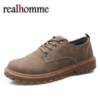 2018 New Casual Lace Up Men Leather Casual Shoes Autumn Winter Ankle Booting Fashion Footwear Shoes Vintage Mens Shoe