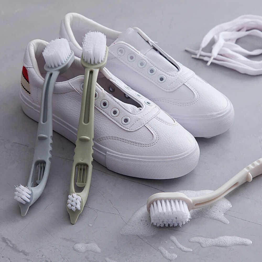 HAICAR Cabeça Dupla escova de sapato Sapatos Escova de Lavagem de Longo Cabo de Plástico escovas de limpeza Lavagem ferramentas de limpeza Higiênico Tênis Sapato