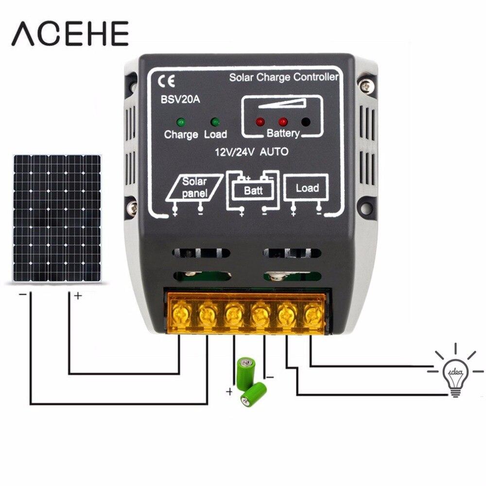 Панель контроллера солнечного зарядного устройства, регулятор заряда свинцово-кислотной батареи 20A 12 В/24 В, безопасная защита, модульная си...