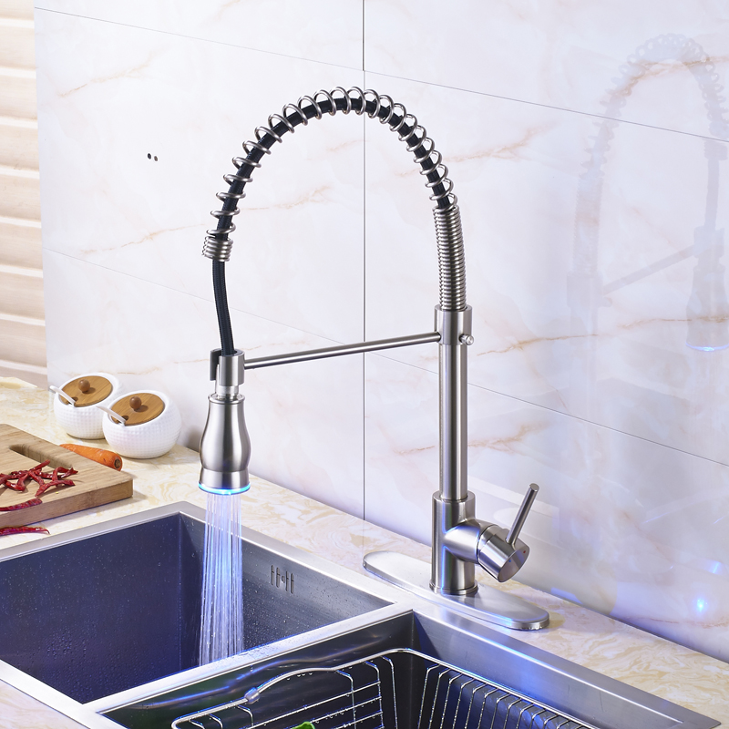LED Color Changing Nickel Brushed Kitchen Sink Faucet Deck Mounted Bathroom Kitchen Mixer Water Taps With 10 Cover Plate nickel brushed deck mounted kitchen sink faucet 360 degree rotation pull out mixer tap with cover plate