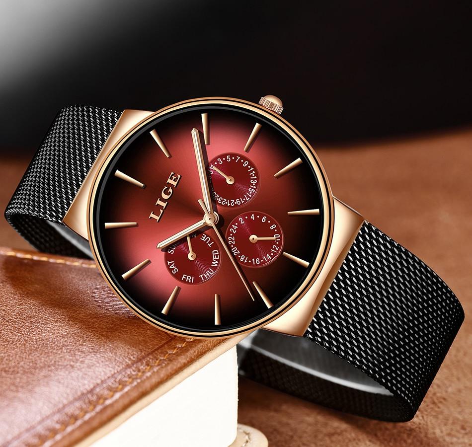 HTB1IXgYS3HqK1RjSZFgq6y7JXXa7 2019 LIGE Casual Thin Mesh Belt Fashion Quartz Gold Watch Mens Watches Top Brand Luxury Sport Waterproof Clock Relogio Masculino