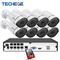 Techege 1080P 8CH Surveillance System 3000tvl PoE Kit 8CH PoE NVR 1080P IP Cameras PoE Waterproof