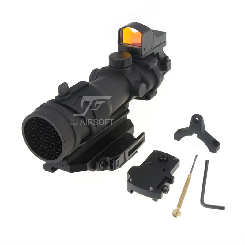 JJ Airsoft ACOG Style 4x32 Scope with Mini Red Dot and Killflash / Kill Flash , AC12033 Bobro Style QD Mount (Black) jj airsoft t1 t 1 red dot 45 degree offset mount qd mount and low mount tan
