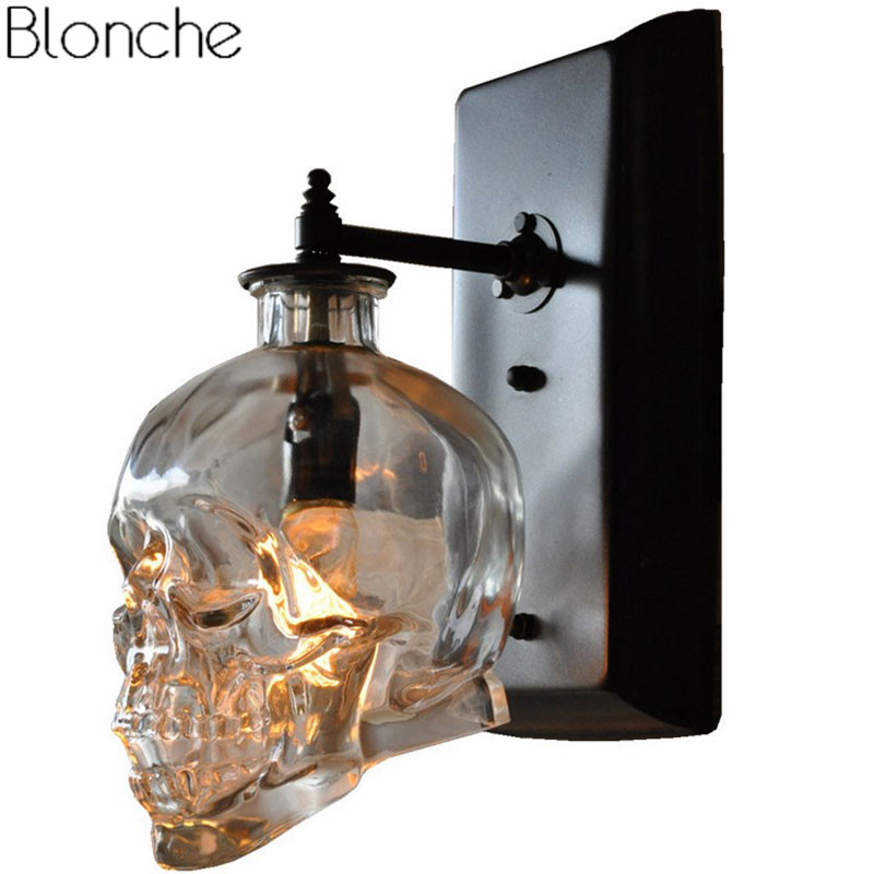 Retro Loft Skull Bones Wall Lamp Sconces Clear Glass Bottle Wall Light Fixtures For Dinning Room Bar Industrial Home Decor E14 цена