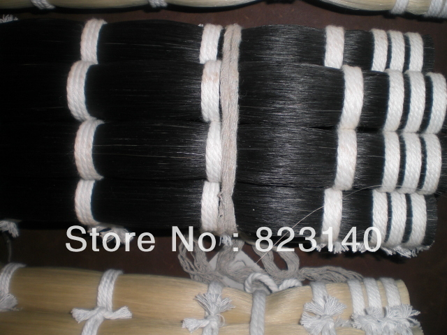 1 KG High quality Black horse tail in 32 inches 60 hanks stallion violin horse hair 7 grams each hank 32 inches in length