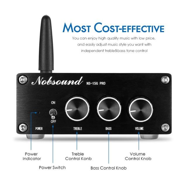 Nobsound Mini Bluetooth 5.0 TPA3116 Digital Audio Amplifier HiFi Class D Stereo Power Amp PCM5102A Decoding DAC 100W*2