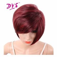 Деингс црвена боја кратке синтетичке перике с праменовима за црне жене Пиеке изрезане равне косе природне отпорности на топлину Канекалон влакна