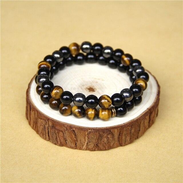 Bracelet Oeil De Tigre Et Onyx Noir